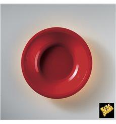 Assiette Plastique Réutilisable Creuse Rouge PP Ø195mm (50 Utés)