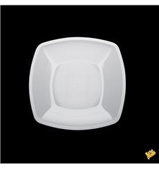 Assiette Plastique Plate Blanc Square PP 230mm (300 Utés)