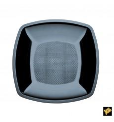 Assiette Plastique Plate Noir Square PS 230mm (300 Utés)