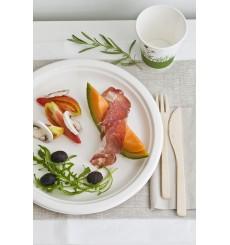 Suikerriet bord wit Ø23 cm (50 eenheden)