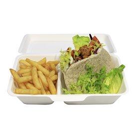 Suikerriet Gescharnierd Burger Container 24,0x12,5x6,5cm (50 stuks)