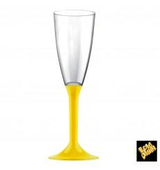 Flûte Champagne Plastique Pied Jaune 120ml 2P (200 Utés)