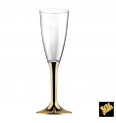 Flûte Champagne Plastique Pied Or Chrome 120ml 2P (20 Utés)