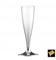 Flûte Champagne Plastique Pied Argent Chrome 140ml 2P (400 Utés)