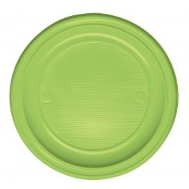 Plastic bord PS Plat limoengroen Ø22 cm (30 stuks)