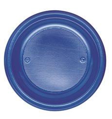 Assiette Plastique PS Plate Bleu Foncé Ø220mm (30 Unités)