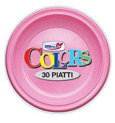 Assiette Plastique PS Creuse Rose Ø220mm (30 Unités)