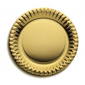 """Papieren bord Rond vormig """"Party"""" goud Ø23cm (10 stuks)"""