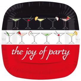 Assiette Carton Carré Plate ''Joy of Party'' 230mm (8 Unités)