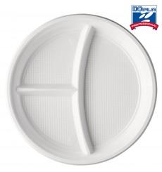 Assiette Plastique PS 3 Compartiments 220mm (1400 Unités)