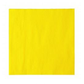Papieren servet 2 laags geel 33x33cm (50 stuks)