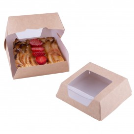 Papieren cake doosje met venster kraft 14x14x5cm (250 stuks)