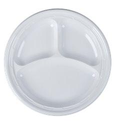 """Assiette en Plastique PS """"Famous Impact"""" 3 C. Blanc Ø260mm (500 unités)"""