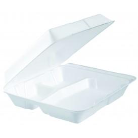 Boîte en FOAM MenuBOX 3 C. Détachable Blanc 240x235mm (100 Utes)