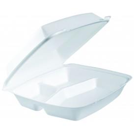 Schuim lunch doos 3 Compartmenten wit 2,40x2,35cm (200 stuks)