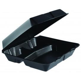 Schuim lunch doos 3 Compartmenten zwart 2,40x2,35cm (100 stuks)