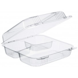 "Plastic scharnierende Deli-Container OPS 3 Compartmenten ""StaenLock"" transparant 1120ml (100 stuks)"