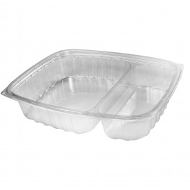 """Plastic deli Container OPS """"transparantPac"""" 2 Compartmenten transparant 887ml (63 stuks)"""