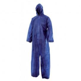 """Wegwerp plastic overall """"TST"""" PP capuchonrits maat L blauw (50 stuks)"""