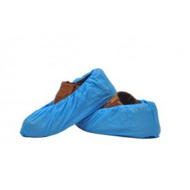 Wegwerp plastic schoen omhulsel PE G80 blauw (100 stuks)