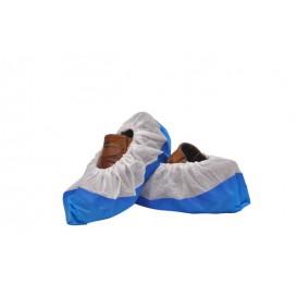 Surchaussures en PP Non Tissé Blanc Semelle PE Antidérapante Bleu (50 Utés)