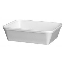 """Schuim Container """"Diner-pakket"""" Rechthoekige vorm wit 740ml (25 stuks)"""
