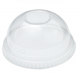Plastic PET koepel Deksel met gat Kristal Ø7,8cm (100 stuks)