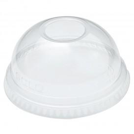 Plastic PET koepel Deksel met gat Kristal Ø7,8cm (1000 stuks)