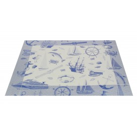 """Set de Table papier 30x40cm """"Marin"""" Bleu 50g (2500 Utés)"""