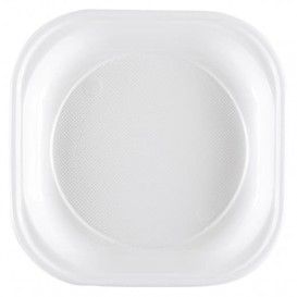 Assiette Plastique PS Carrée Dur Blanc 200x200mm (50 Unités)