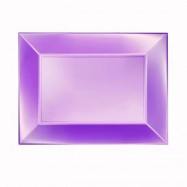 "Plastic dienblad microgolfbaar paars ""Nice"" 28x19cm (12 stuks)"