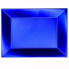 """Plastic dienblad microgolfbaar blauw """"Nice"""" 34,5x23cm (60 stuks)"""
