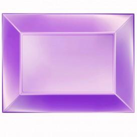 "Plastic dienblad microgolfbaar paars ""Nice"" 34,5x23cm (6 stuks)"