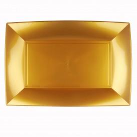 """Plastic dienblad microgolfbaar goud """"Nice"""" 34,5x23cm (6 stuks)"""
