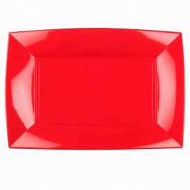 """Plastic dienblad microgolfbaar rood """"Nice"""" 34,5x23cm (60 stuks)"""