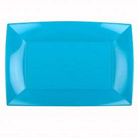 Plateau Plastique Turquoise Nice PP 345x230mm (60 Utés)