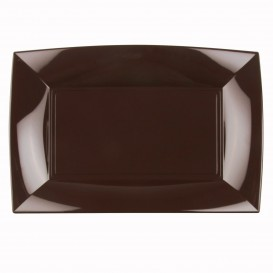 "Plastic dienblad microgolfbaar bruin ""Nice"" 34,5x23cm (60 stuks)"