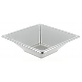 Plastic kom PS Vierkant zilver 12x12cm (25 stuks)