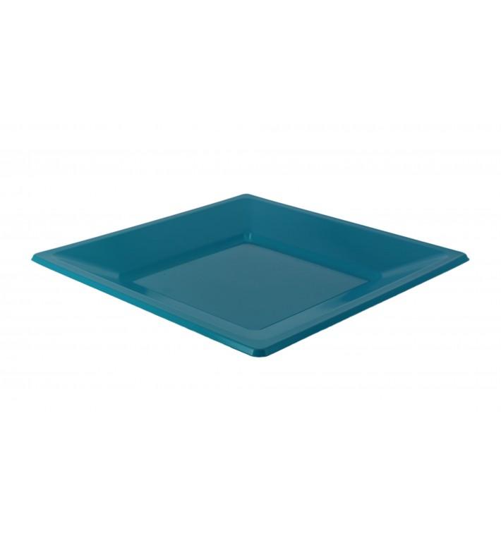 Assiette Plastique Carrée Plate Turquoise 170mm (25 Utés)