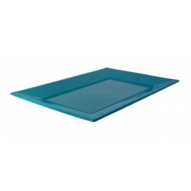 Plastic dienblad turkoois 33x22,5cm (3 stuks)
