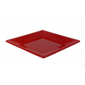Assiette Plastique Carrée Plate Rouge 230mm (25 Unités)