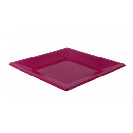 Assiette Plastique Carrée Plate Fuchsia 230mm (3 Utés)
