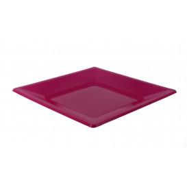 Plastic bord Plat Vierkant fuchsia 23 cm (3 stuks)