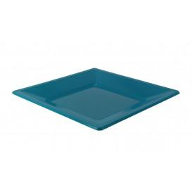 Plastic bord Plat Vierkant turkoois 23 cm (3 stuks)