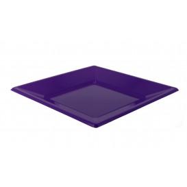 Assiette Plastique Carrée Plate Lilas 230mm (180 Unités)