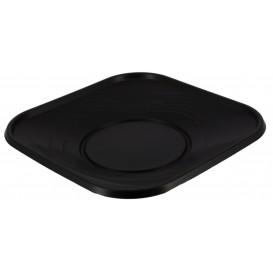 """Assiette Plastique PP """"X-Table"""" Carré Noir 230mm (8 Utés)"""