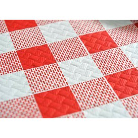 Voorgesneden papieren tafelkleed rood Checkers 40g 1x1m (400 eenheden)