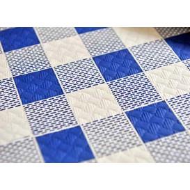 Voorgesneden papieren tafelkleed blauw Checkers 40g 1x1m (400 eenheden)