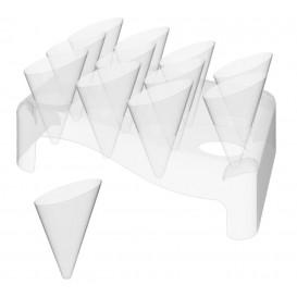 """Plastic Bediening kegels met Bediening kegel houder """"Slice"""" 55ml 18x26cm (20 sets)"""