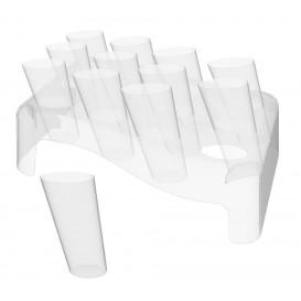 Plastic Bediening kegels met Bediening kegel houder transparant 75ml 18x26cm (20 sets)